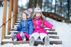 2 смешных прелестных маленьких сестры имея потеху совместно в парке зимы Стоковая Фотография RF