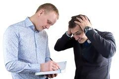 2 смешных businessmans на белой предпосылке Стоковое Фото
