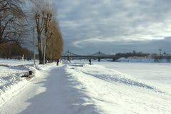 Смещения снега на портовый район Стоковое фото RF