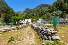Смещенная деревня Samaria в ущелье Samaria, Крите Стоковые Изображения