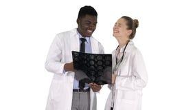 Смеясь доктора изучая рентгеновский снимок на белой предпосылке стоковое фото rf