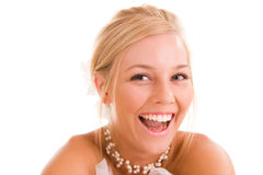 смеясь над женщина портрета Стоковое фото RF