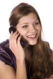 смеясь над женщина телефона Стоковые Фото