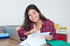 Смеясь над кавказская студентка с длинными темными волосами на столе на Стоковое фото RF