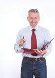Смеясь над работник с скоросшивателем Стоковая Фотография RF