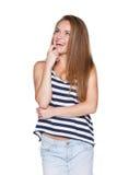 Смеясь над битник подростка смотря вверх Стоковая Фотография RF