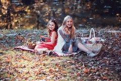 Смеясь над девушки на пикнике Стоковое Изображение RF