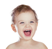 Смеясь над изолированный мальчик Стоковая Фотография RF