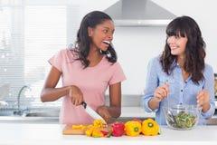 Смеясь над друзья подготавливая салат совместно Стоковое Фото