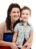 Смеясь над стороны мати и ее сынка Стоковое Фото