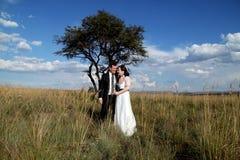 Смеяться над пар свадьбы Стоковые Изображения