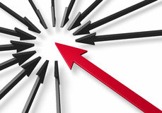 Смелейшая красная стрелка окруженная черными стрелками Стоковые Изображения RF