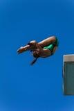 Смелость девушки подныривания бассейна платформы акватическая Стоковое Изображение