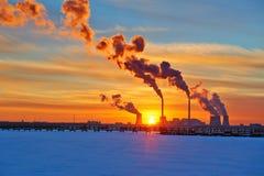 Смог заходом солнца озера снега Стоковое Изображение