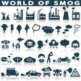 Смог, установленные значки загрязнения Стоковые Фото