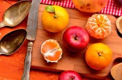 Смоква, хурма, гранатовое дерево, авокадо и мандарины (tangerines) на грубой предпосылке Тема натюрморта Стоковое фото RF