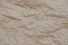 сморщенная бумага kraft Текстура предпосылки взгляд сверху скомканная коричневым цветом бумажная Стоковая Фотография RF