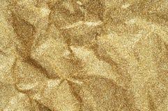 Сморщенная золотом бумажная предпосылка конспекта текстуры Стоковые Изображения RF