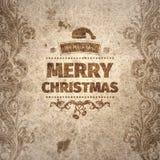 Сморщенная усадьбой поцарапанная выглядящая стар рождественская открытка Стоковое фото RF
