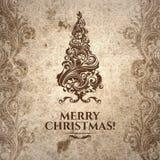 Сморщенная усадьбой поцарапанная выглядящая стар рождественская открытка Стоковое Изображение RF