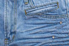Сморщенные голубые джинсы Стоковые Фотографии RF