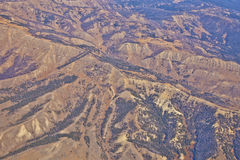 Сморщенный ландшафт Вайоминга от воздуха Стоковые Фото