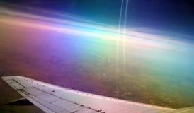 Смотреть вне над плоским крылом Стоковое фото RF