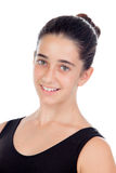 Смотреть вскользь девушки подростка усмехаясь вверх Стоковая Фотография