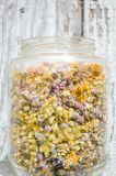 Смотреть высушенные цветки в стеклянном опарнике стоковое изображение