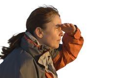 смотреть женщину солнца Стоковое фото RF