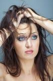 Смотреть расстроенной женщины унылый вниз Стоковое Изображение
