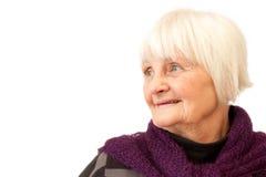 смотреть старшую бортовую помадку к женщине Стоковое фото RF