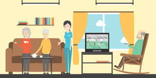 Смотреть ТВ в доме престарелых старшии бесплатная иллюстрация