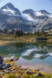 Смотрите на гору, ледники и отражения дерева хвои, озера семафор, Канаду стоковая фотография rf