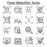 Смотрите на обнаружение, значок распознавания лиц установленный в тонкую линию стиль иллюстрация штока
