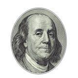 Смотрите на от 100 долларов счета, пути клиппирования Стоковое Изображение