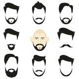 Смотрите на пустые стили причёсок шаблонов и бороды, стиль битника Стоковая Фотография RF