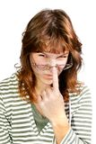 смотрит на делать девушки Стоковая Фотография RF