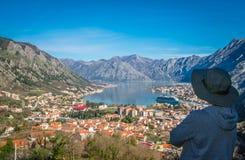 Смотрящ залива Kotor сверху Стоковые Изображения
