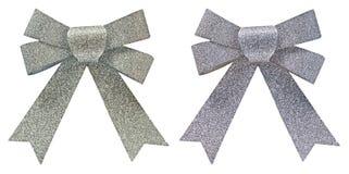 2 смычка серебряных яркого блеска декоративных Стоковые Фотографии RF