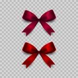 Смычки подарка установленные на прозрачную предпосылку Красный цвет и пинк вектор