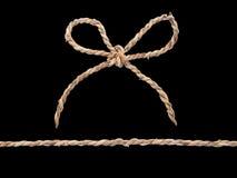 Смычок веревочки изолированный на черноте Стоковое Изображение RF