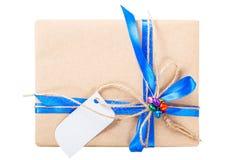 Смычок ленты подарочной коробки бумаги Kraft Стоковое Изображение RF