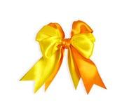 смычок Желт-апельсина изолированный на белизне Стоковое Изображение