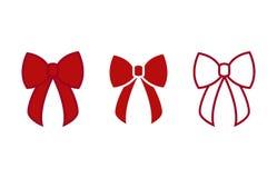 Смычок - значки вектора Смычки красного цвета Рождество обхватывает - плоскую изолированную иллюстрацию вектора иллюстрация вектора