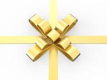 смычок подарка золота иллюстрации 3D Стоковые Изображения RF