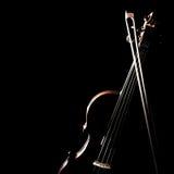 Смычок скрипки изолированный на черноте Стоковое Изображение RF