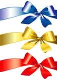Смычок, тесемка, красный цвет, золото, голубое Стоковое Фото