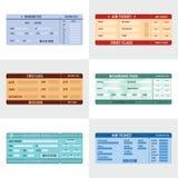 Снабдите комплект билетами знамени авиакомпании горизонтальный, плоский стиль Стоковые Изображения