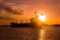 Снабжение и транспорт международного грузового корабля контейнера в океане Стоковые Изображения